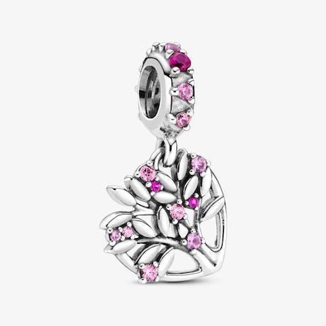 Charm pendente Albero della Famiglia Cuore rosa