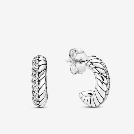 Orecchini Pandora a cerchio con maglia snake e pavè