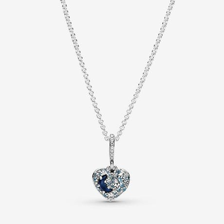 Collana Pandora con Cuore Stelle e Luna Blu scintillante