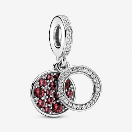 Charm pendente doppio con Disco Rosso scintillante
