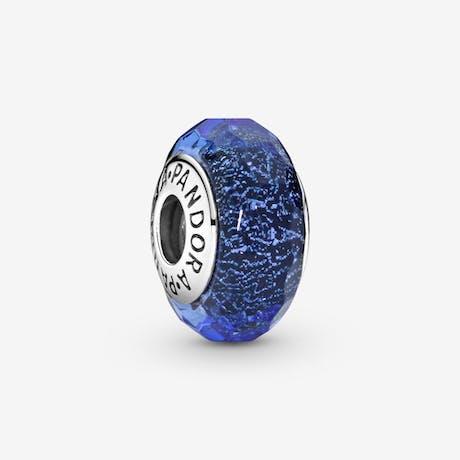 Charm in vetro di Murano blu sfaccettato
