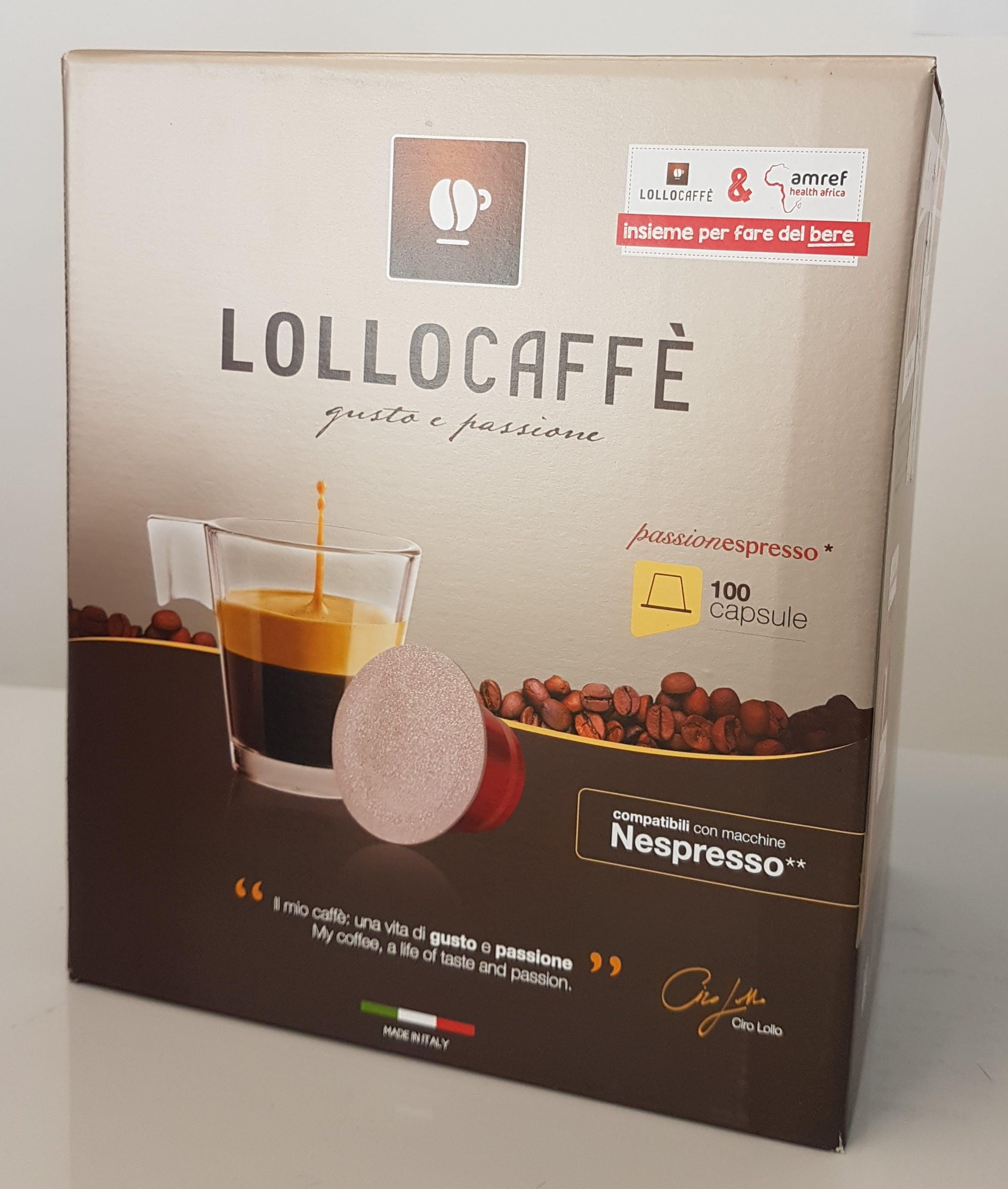 100 Capsule Lollo Caffè  Nero Espresso Compatibili Nespresso