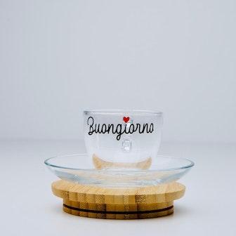 Tazzina Caffè in vetro con piattino