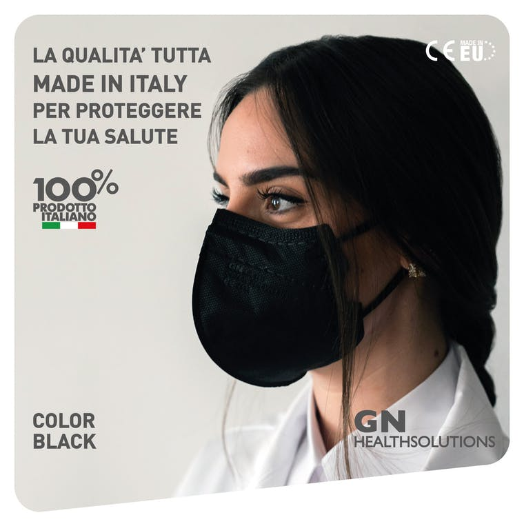 Mascherina FFP2 AIR-1919 NERO - CE 2834  EN 149 PPE-R/02.075 v.2 - 10 pezzi - prezzo a mascherina