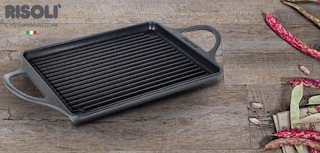 Piastra grigliata in alluminio pressofuso 46x25 cm Risolì