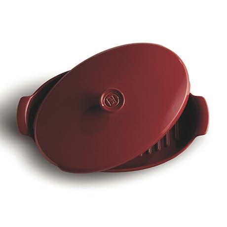 Teglia forno ceramica ovale con coperchio Emile Henry rossa