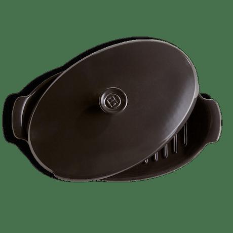 Teglia forno ceramica ovale con coperchio Emile Henry nera