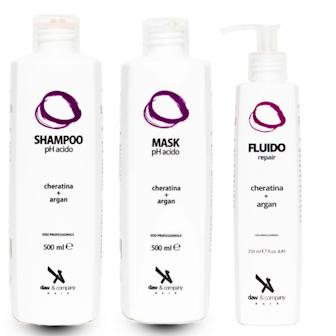 Kit Repair Daw Shampoo, Maschera e Fluido ristrutturante pH acido argan e cheratina