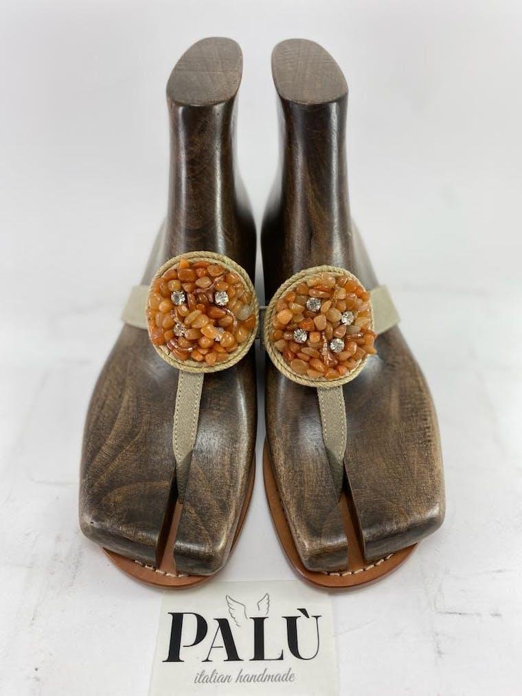 sandalo positano in pelle e camoscio con accessorio