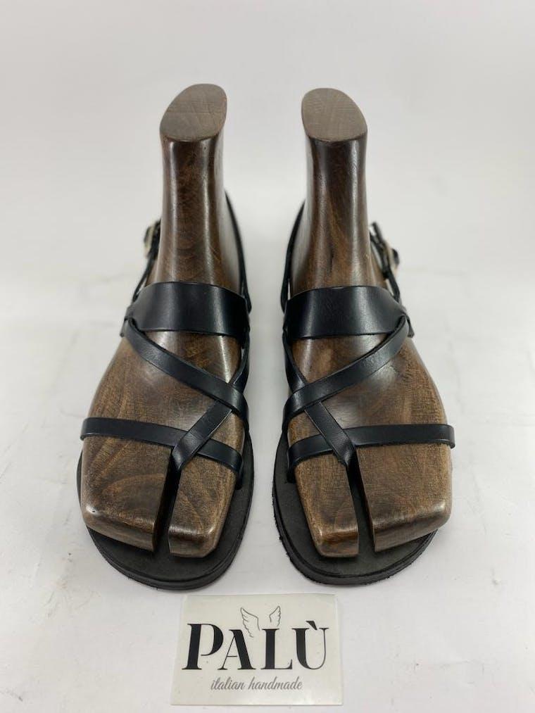 sandalo positano in pelle nera