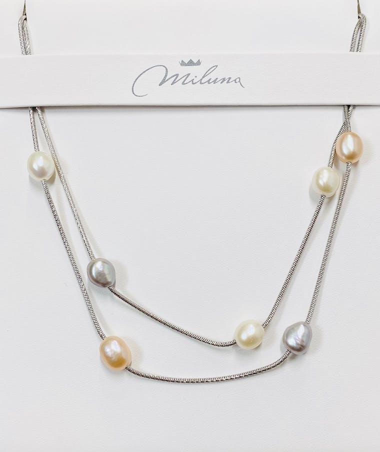 Collana Miluna in argento e perle barocche