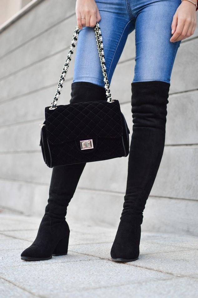 Black velvet purse
